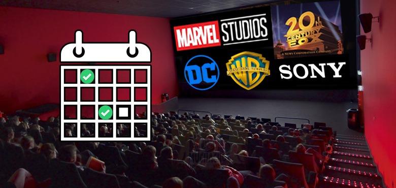 Calendário de filmes de super heróis  da DC e Marvel Comics
